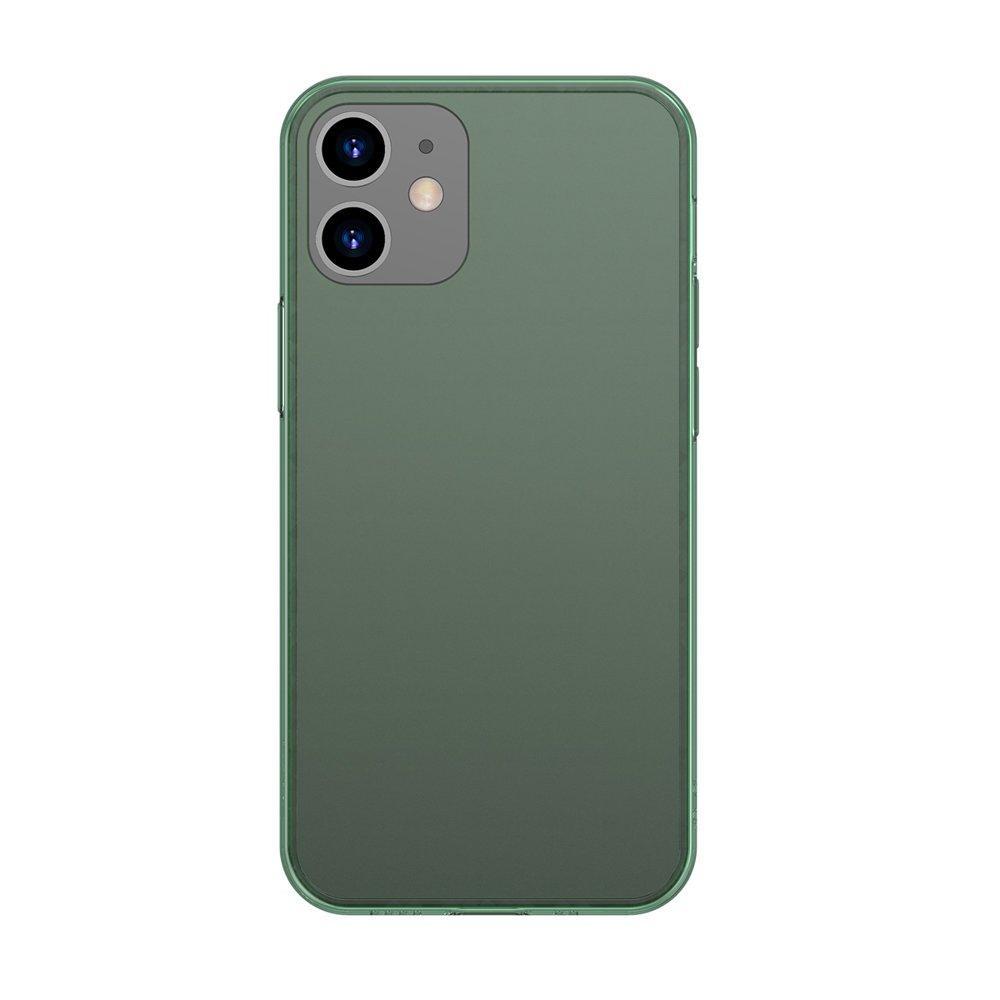 Baseus Frosted Glass Case Ein starres handyhülle mit einem flexiblen Rahmen iPhone 12 Pro / iPhone 12 Dunkelgrün