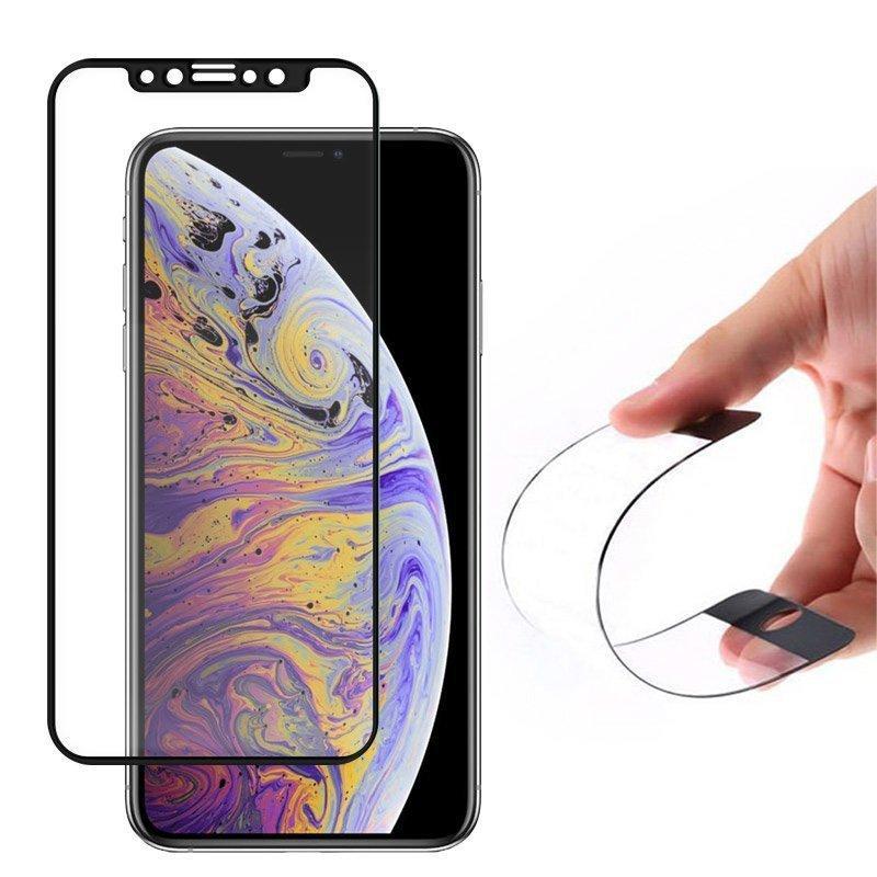 Wozinsky Full Cover Flexi Nano Hybride Flexibel Hartglas mit Rahmen für iPhone 12 mini schwarz