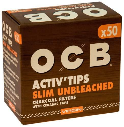 OCB Activ Tips Slim Unbleached Virgin 7mm Aktivkohlefilter mit Keramikkappen 27x7mm 50st. in Packung
