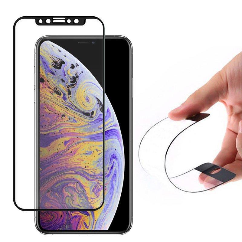Wozinsky Full Cover Flexi Nano Hybride Flexibel Hartglas mit Rahmen für iPhone 11 Pro Max / iPhone XS Max schwarz