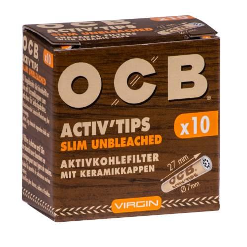 OCB Activ Tips Slim Unbleached Virgin 7mm Aktivkohlefilter mit Keramikkappen 27x7mm 10st. in Packung