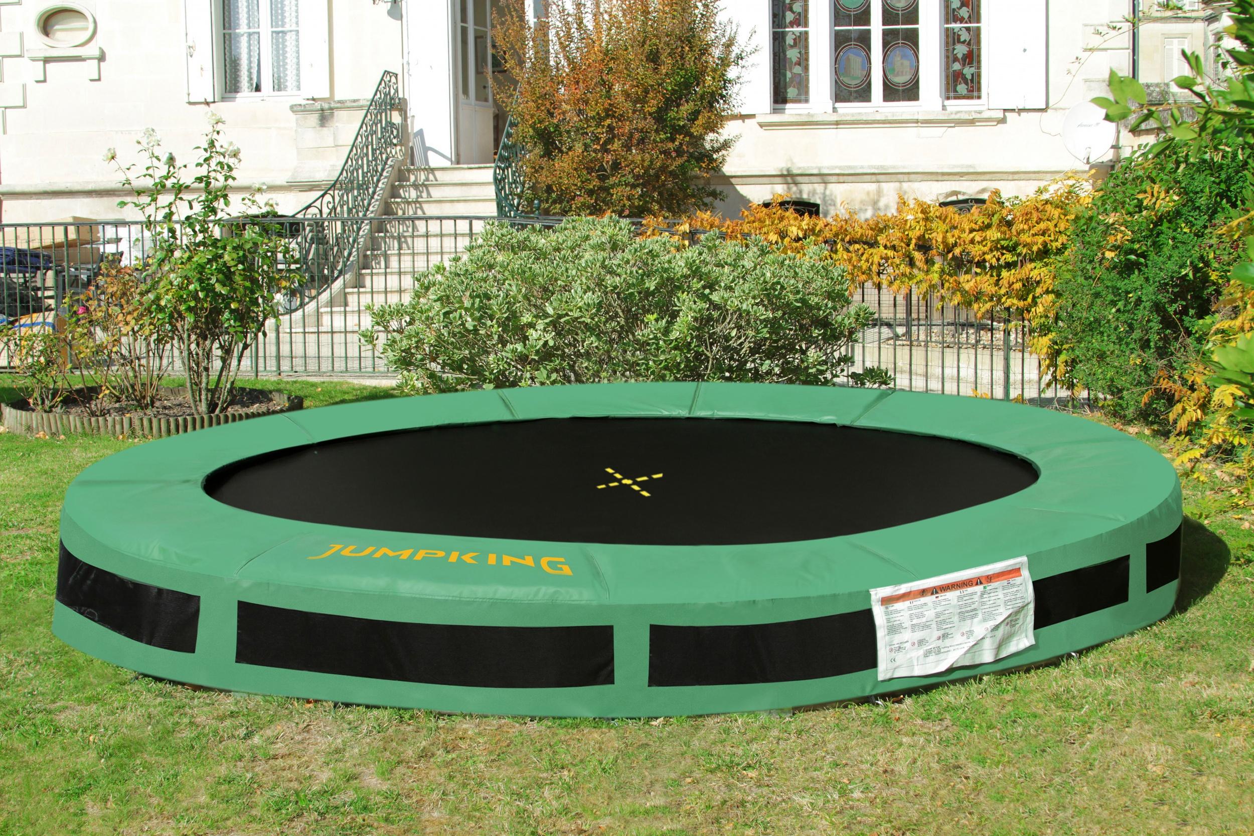 Jumpking trampolin 4InGround Classic,27 Meter schwarz/grün
