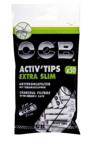 OCB Activ Tips Aktivkohlefilter mit Keramikkappen Extra Slim 6mm 50st. im Beutel