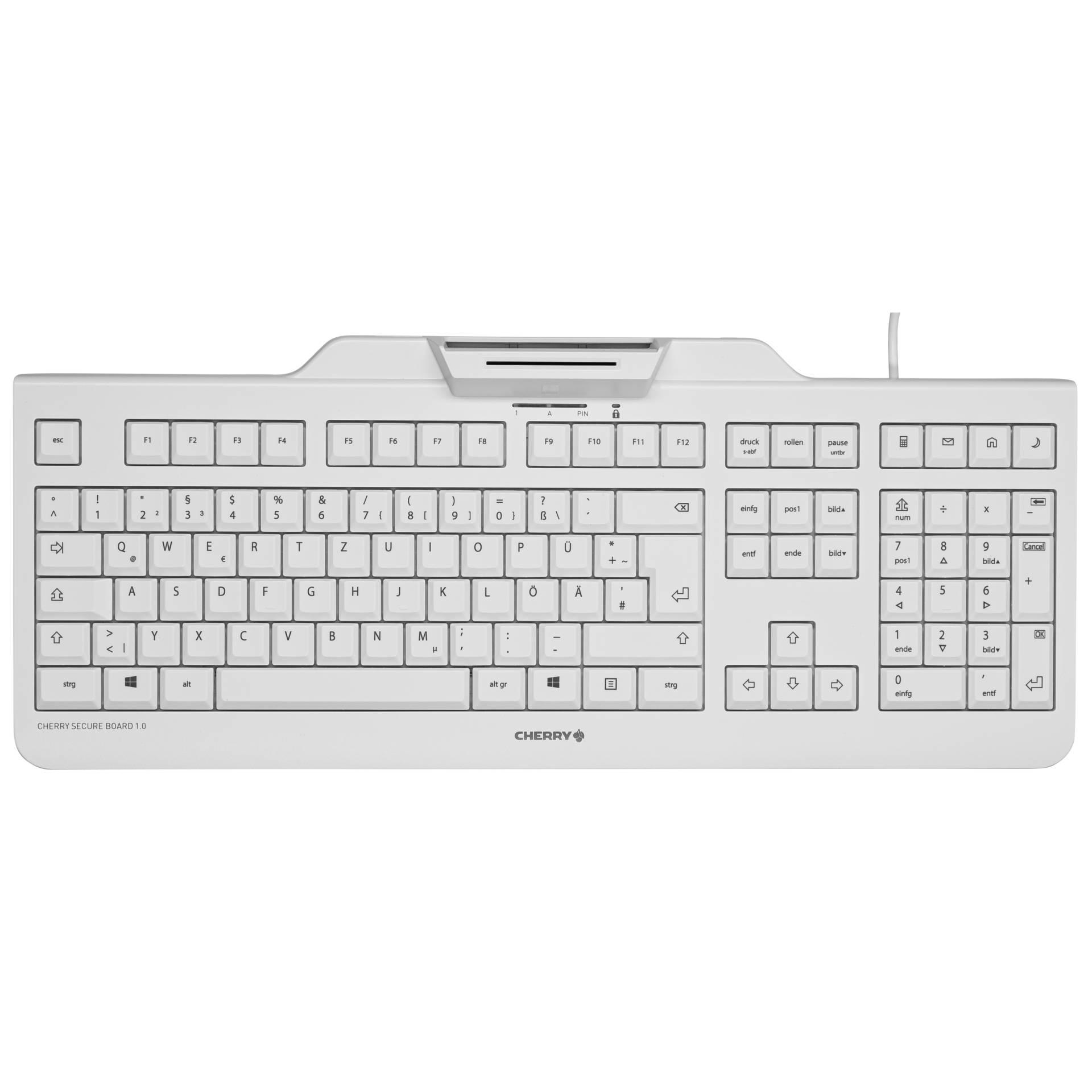 CHERRY Tastatur - Modell: Cherry SECURE BOARD 1.0 Grau Deutsches Layout