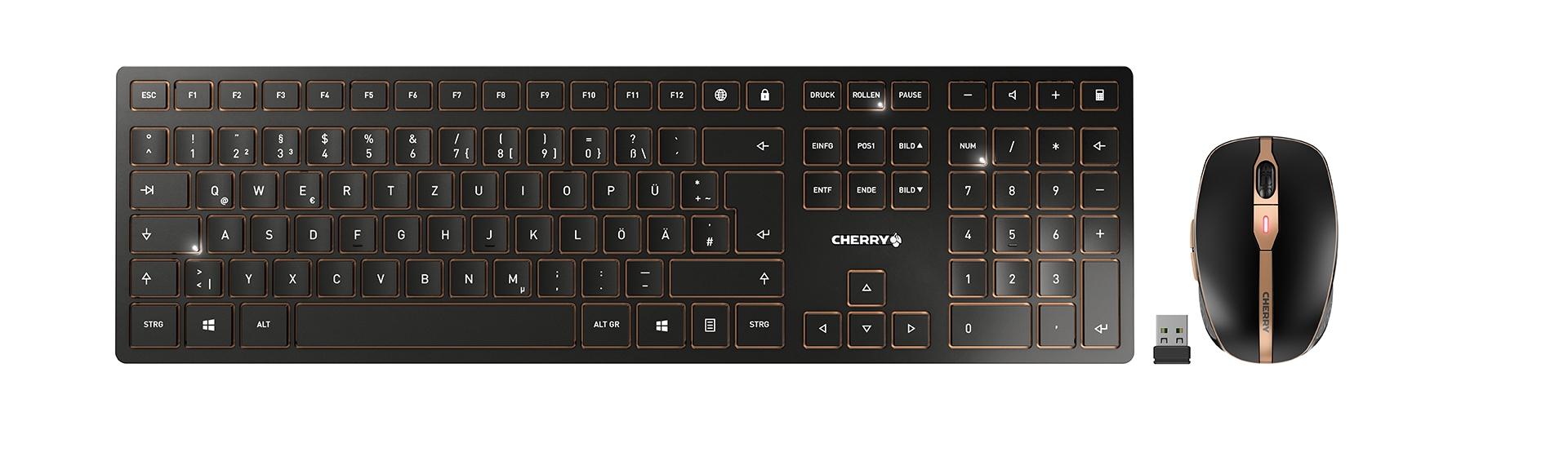 Cherry DW 9000 SLIM, Desktop-Set schwarz/bronze, Layout: Französisch