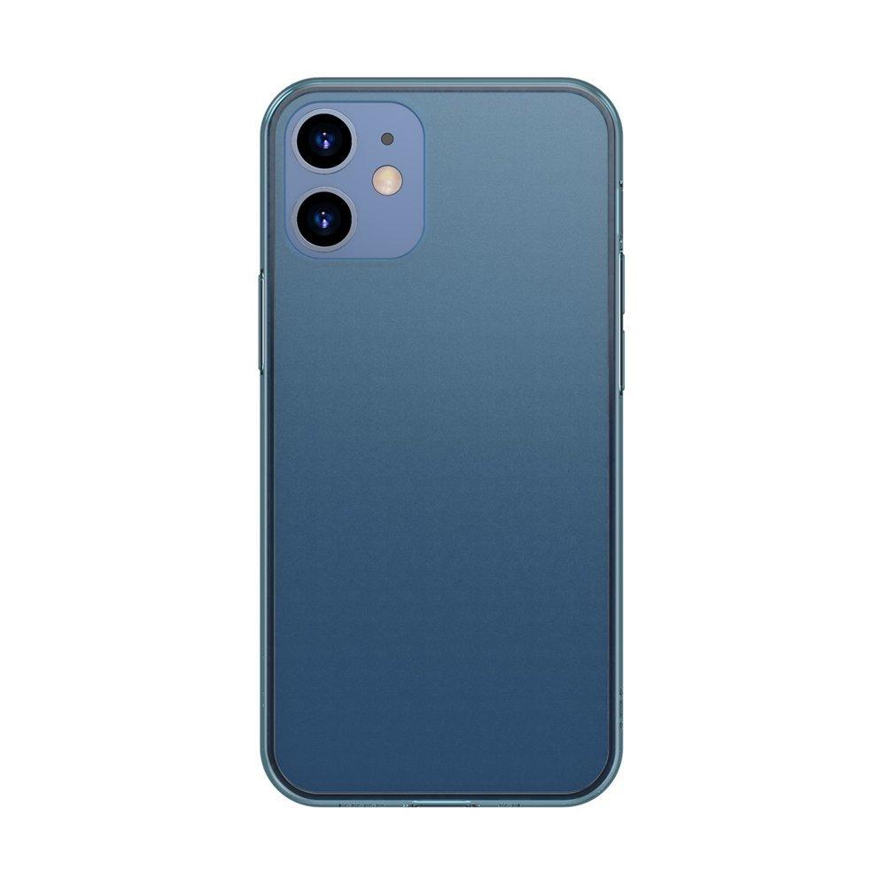 Baseus Frosted Glass Case Ein starres handyhülle mit einem flexiblen Rahmen iPhone 12 Pro / iPhone 12 Navy blau