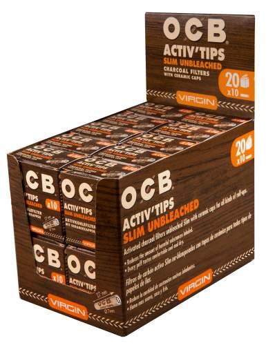 OCB Activ Tips Slim Unbleached Virgin 7mm Aktivkohlefilter mit Keramikkappen 27x7mm 20x10st. in Packung Display