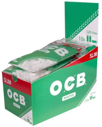 OCB Slim Filter Ø 6mm Menthol mit entnahmelochung (Grün) 120Filter 10er T-Display