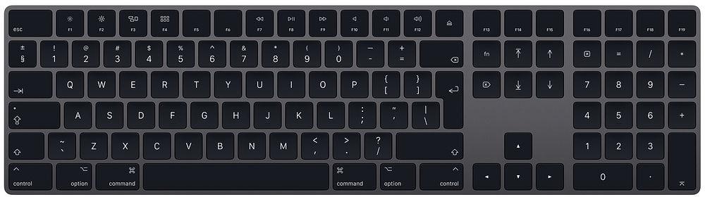 Apple Magic Keyboard mit Ziffernblock, Tastatur grau, Englisches Layout