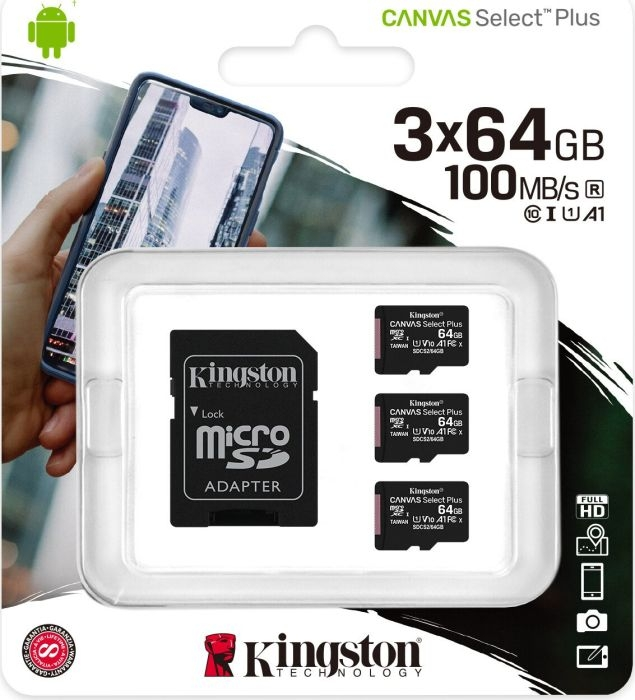 Kingston Canvas Select Plus MicroSD - Speichergröße: 64GB 3er Pack Class 10