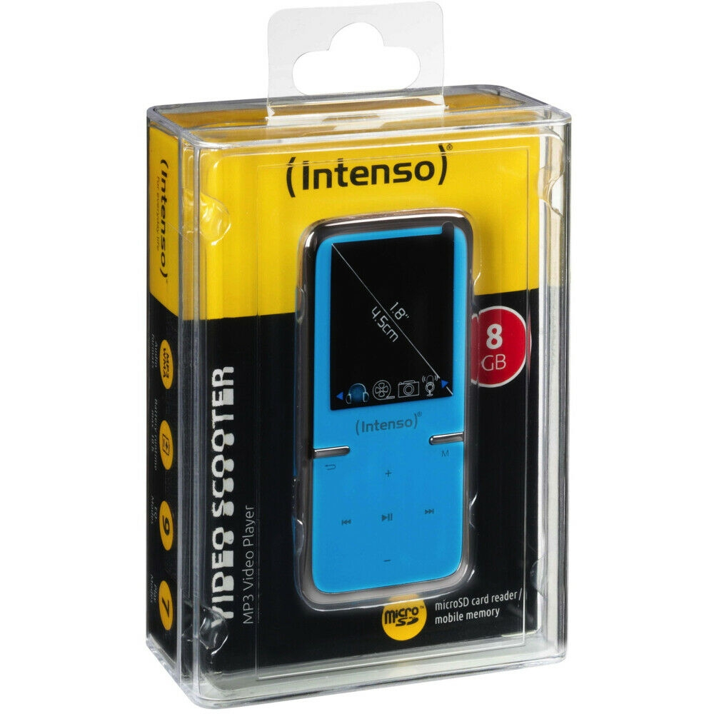 Intenso Video Scooter MP3-Player 8 GB USB 2.0 Blau 8GB Akkubetrieb Zubehörpaket