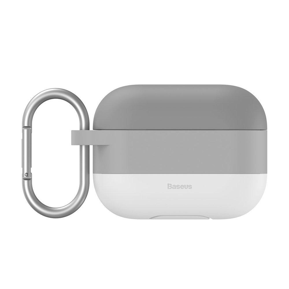 Baseus Silikon Schutztasche für Apple AirPods Pro + Anhänger grau
