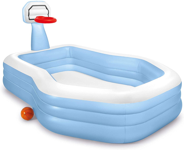 Pool Aufblasbar Sommerpool Becken  - Auswahl: Pool-Basketballring 257 x 130 cm Vinyl blau/weiß