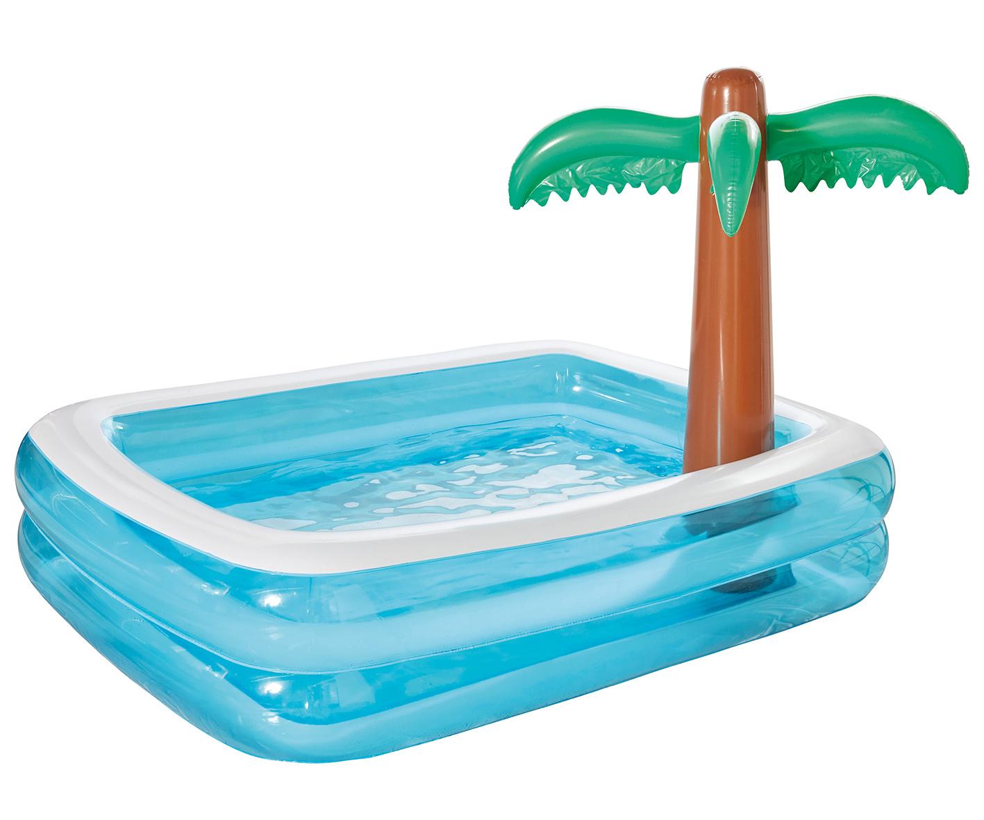 Pool Aufblasbar Sommerpool Becken  - Auswahl: Schwimmbecken Palme 200 x 150 cm blau