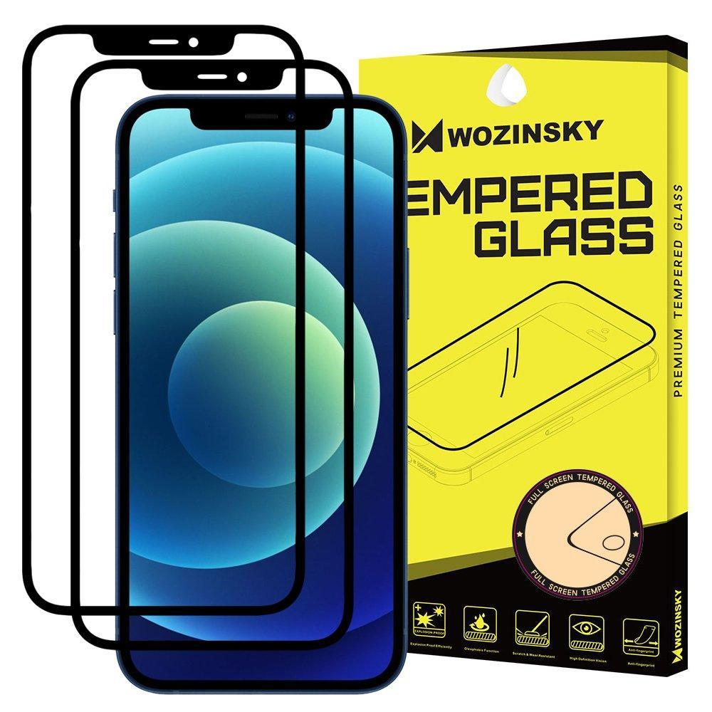 Wozinsky 2x Tempered Glass Full Glue Super Robust Vollbild Hartglas mit Rahmen Case Friendly für iPhone 12 Pro / iPhone 12 schwarz