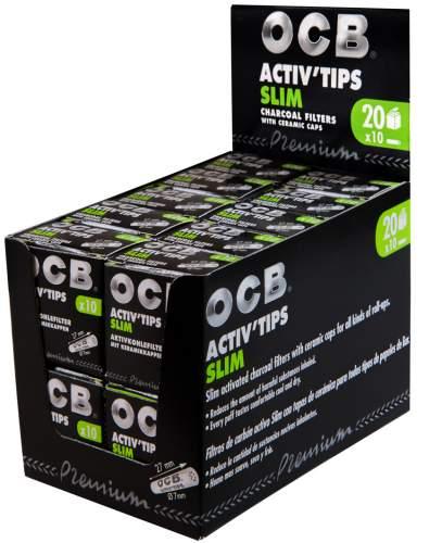 OCB Activ Tips Slim 7mm Aktivkohlefilter mit Keramikkappen 27x7mm 20x10st. in Packung Display