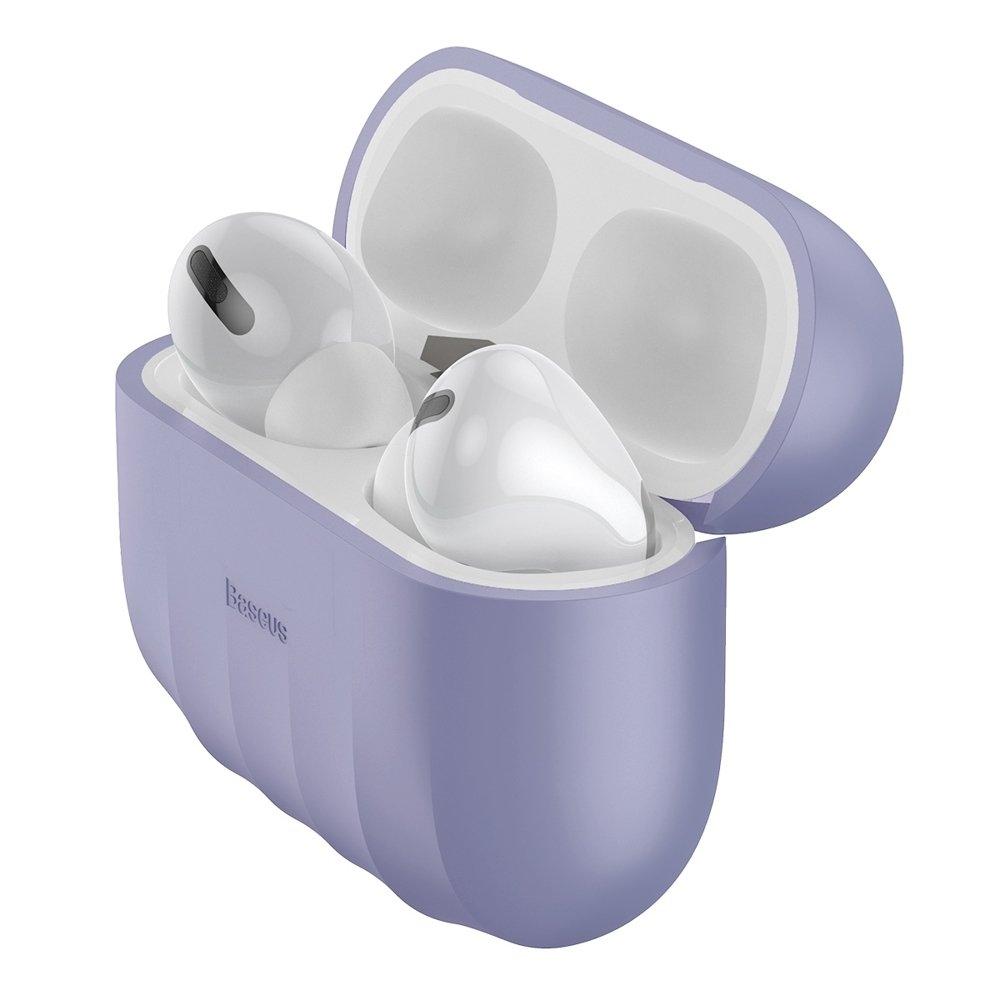 Baseus Shell Silikon Schutztasche für Apple AirPods Pro Kopfhörer violett