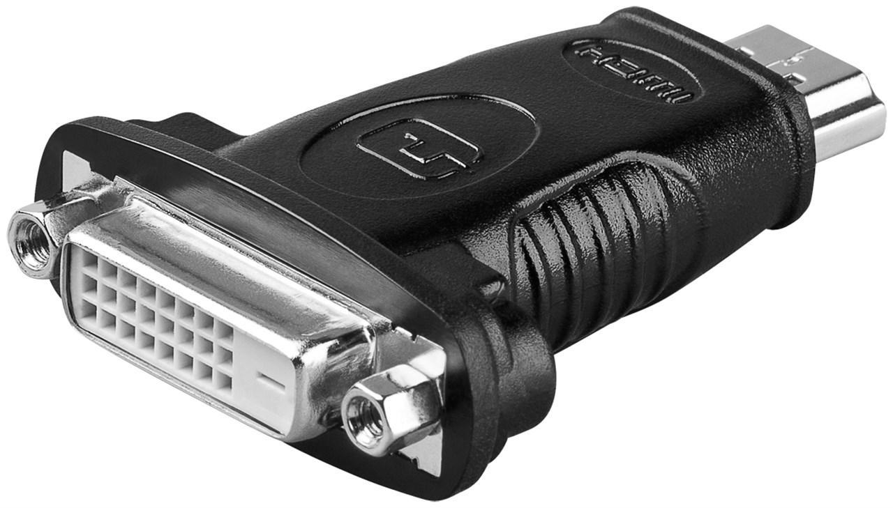 HDMI™/DVI-D Adapter, vernickelt HDMI™-Stecker (Typ A) > DVI-D-Buchse Dual-Link (24+1 pin)