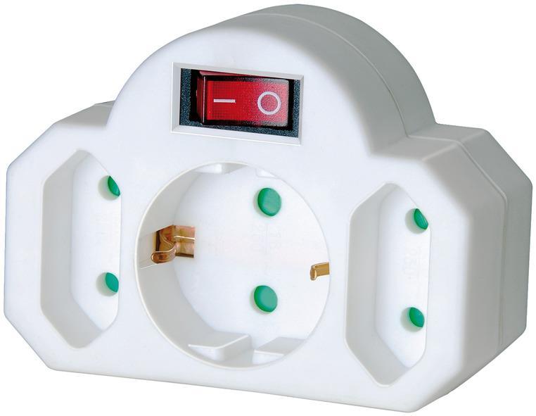 Adapterstecker Euro 2+Schutzkontakt 1 mit Schalter, Steckdosenadapter