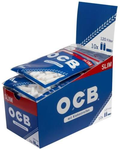 OCB Slim Filter Ø 6mm mit Klebestreifen&entnahmelochung (Blau) 120Filter 10er T-Display