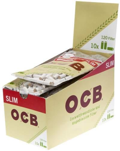 OCB Slim Filter Ø 6mm Organic mit entnahmelochung(Braun)120Filter 10er T-Display