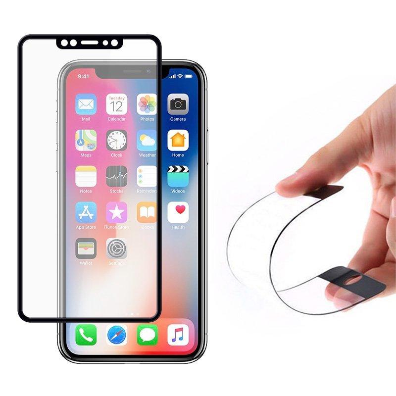 Wozinsky Full Cover Flexi Nano Hybride Flexibel Hartglas mit Rahmen für iPhone 11 Pro / iPhone XS / iPhone X schwarz