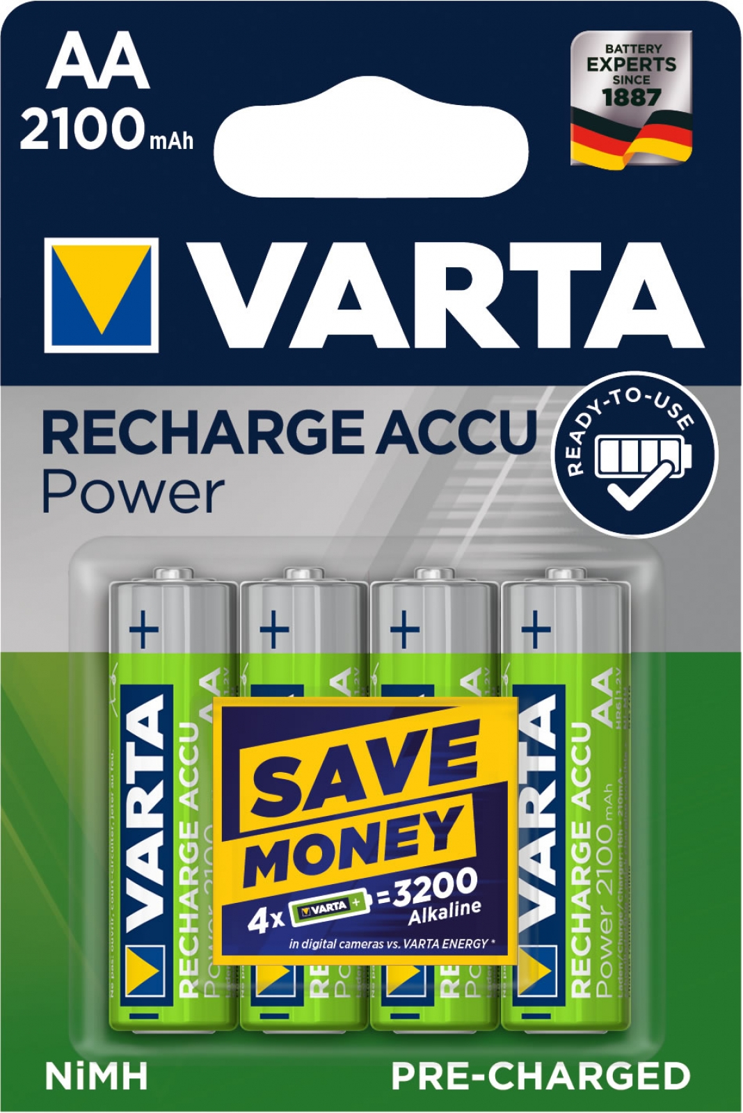 Varta Accu Power, Pre-charged, Retail Blister (4-Pack)