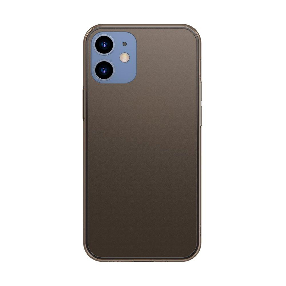 Baseus Frosted Glass Case Ein starres handyhülle mit einem flexiblen Rahmen iPhone 12 Pro / iPhone 12 Schwarz