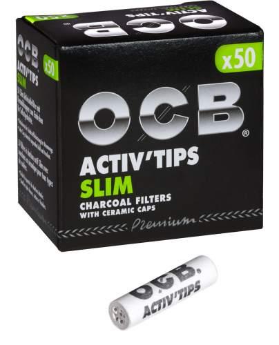 OCB Activ Tips Slim 7mm Aktivkohlefilter mit Keramikkappen 27x7mm 50st. in Packung