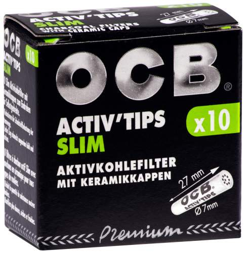 OCB Activ Tips Slim 7mm Aktivkohlefilter mit Keramikkappen 27x7mm 10st. in Packung