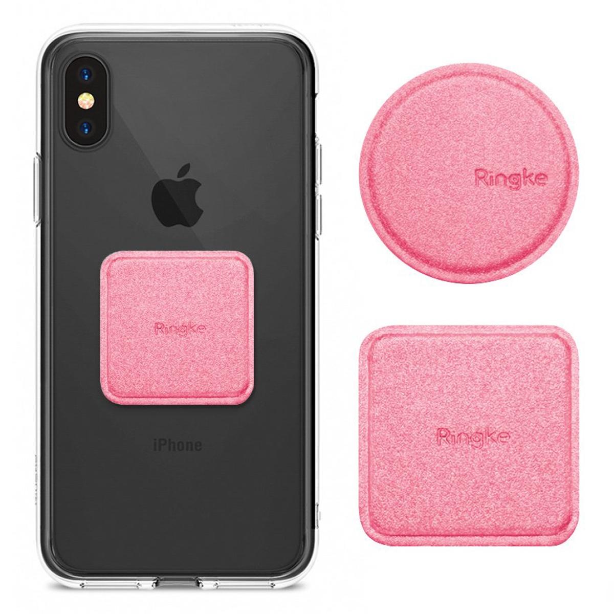 Ringke Magnetic Mount Metal Plate 2x PU Leder Metallplatten für magnetische Autohalterung rosa