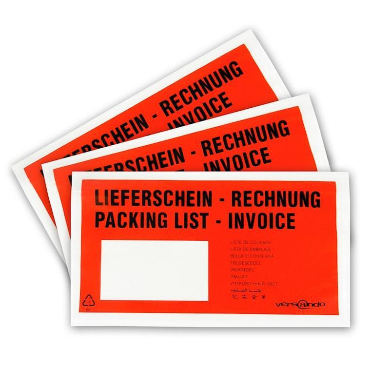 1000 Begleitpapiertaschen Lieferscheintaschen versando DIN lang rot-schwarz bedruckt