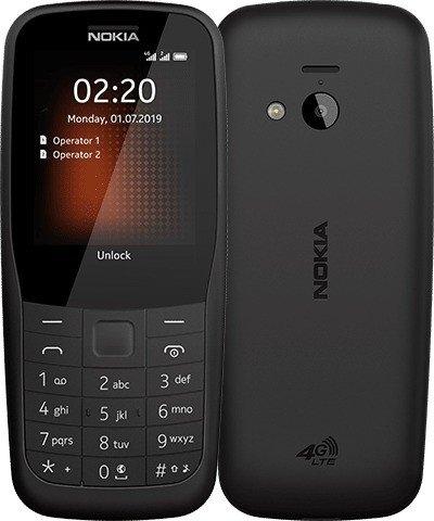 NOKIA 220 4G SW Mobiltelefon, Dual-SIM, schwarz 16QUEB01A03
